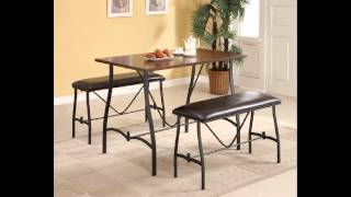 3 Pc Jabari Collection Table And Benches Counter Height Dining Table Set