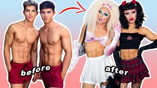 twins transform into DRAG QUEENS for the FIRST TIME (full drag transformation)