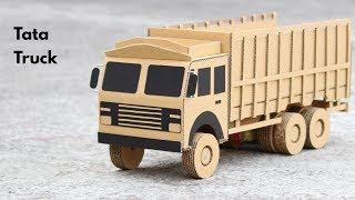 How To Make RC Tata Truck From Cardboard    Tata 6 Wheeler Truck    Very Simple DIY