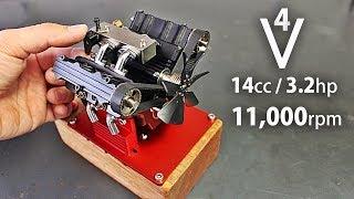 4 Cylinder V-Shaped 4 Stroke Nitro Engine Test
