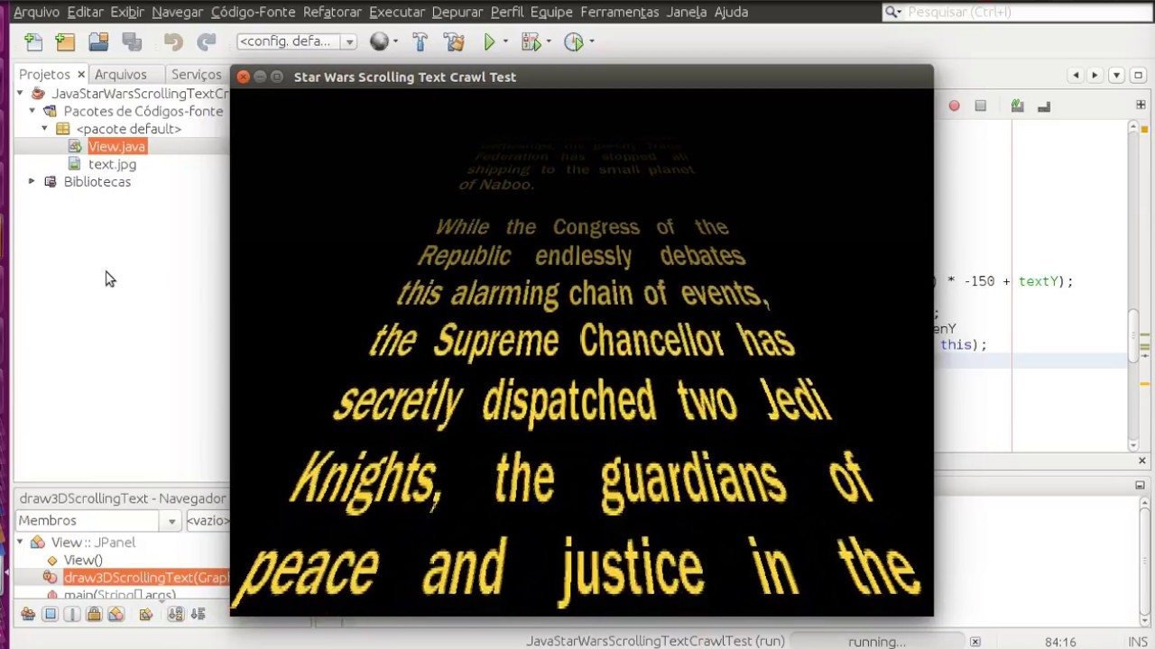 Java 2D from scratch - Star Wars Scrolling Text Crawl Test / Thanks to all  600+ subscribers :) !!!