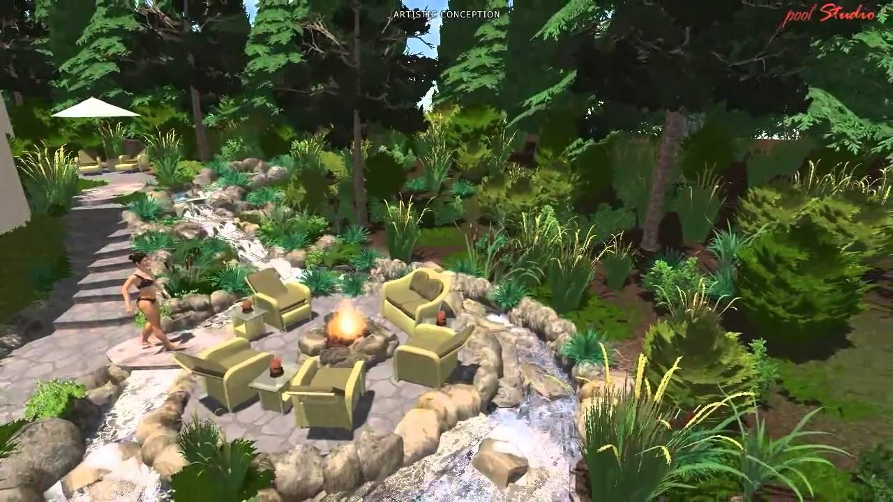 hgtv 3d virtual reality of outdoor pool and backyard paradise