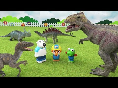어떤 공룡이 가장 강할까? 공룡 부활 증강현실 입체 퍼즐 스티커 대결 ❤ 뽀로로 장난감 애니 ❤ Pororo Toy Video | 토이컴 Toycom