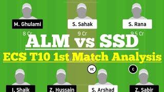 ALM vs SSD 1st Match Dream11 Team Analysis, ALM vs SSD Dream 11 Today Match, ECS T10 Gothenburg