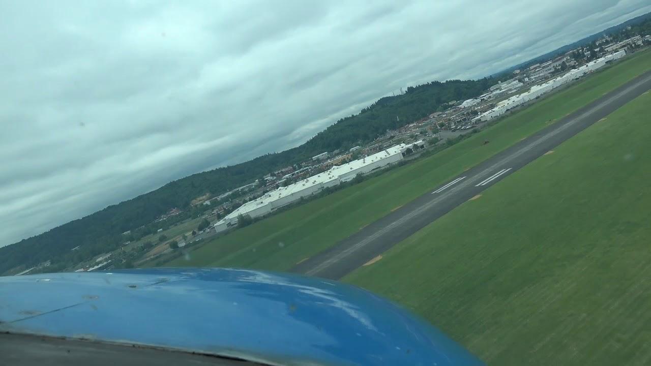 Cessna 206 with Sportsman STOL spot landing pilot view KCLS