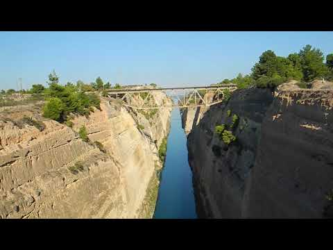 The history of the Corinth Canal, Peloponnese, Greece