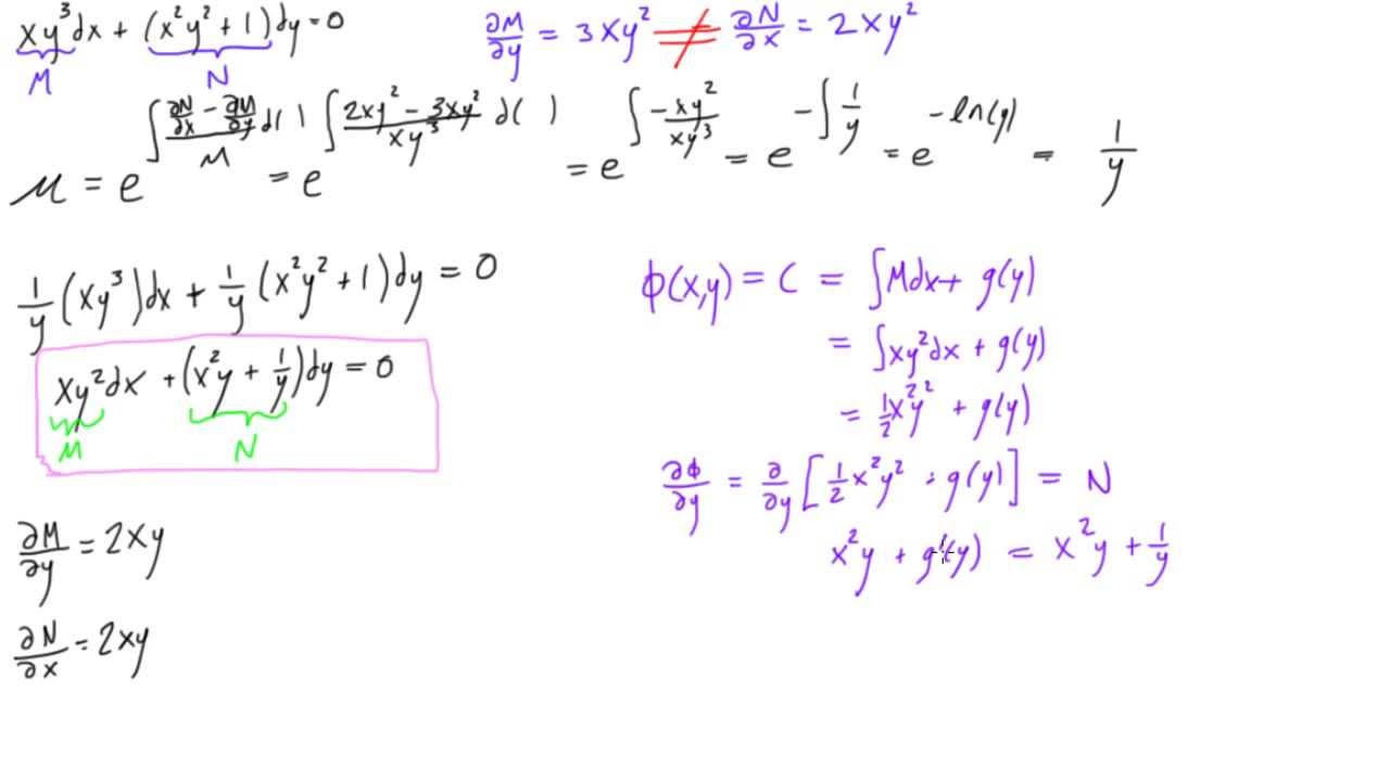 Non Exact Differential Equation With Integrating Factor Example