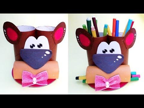 DIY Teddy Bear Pen/Pencil Holder || Reuse Cardboard Roll || Pen Stand || The Blue Sea Art