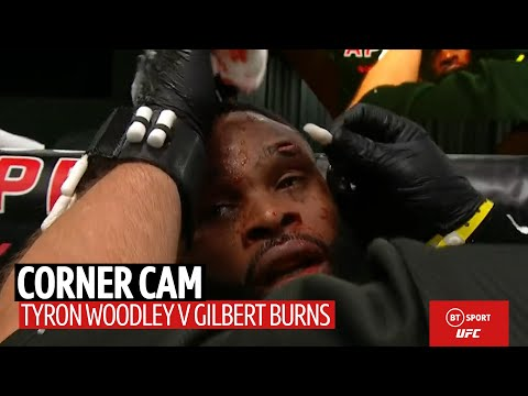Corner Cam: What Tyron Woodley's coaches said to him in between rounds against Gilbert Burns