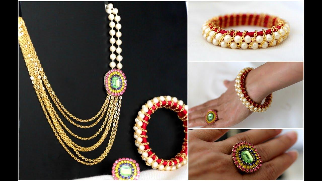 How To Make Party Wear Necklace Set || DIY Necklace || DIY Bridal ...