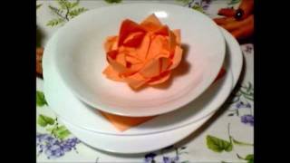 Repeat youtube video Tutorial Tovagliolo Fior di Loto ♥ Lotus Flower