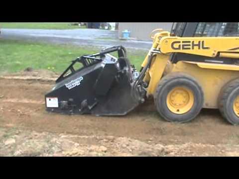 bobcat 5b landscape rake rock hound attachment for skid steer loader