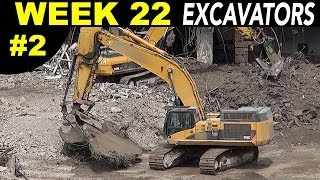 Demolition excavators + other heavy equipment at work (normal speed) (Week 22 set 2)