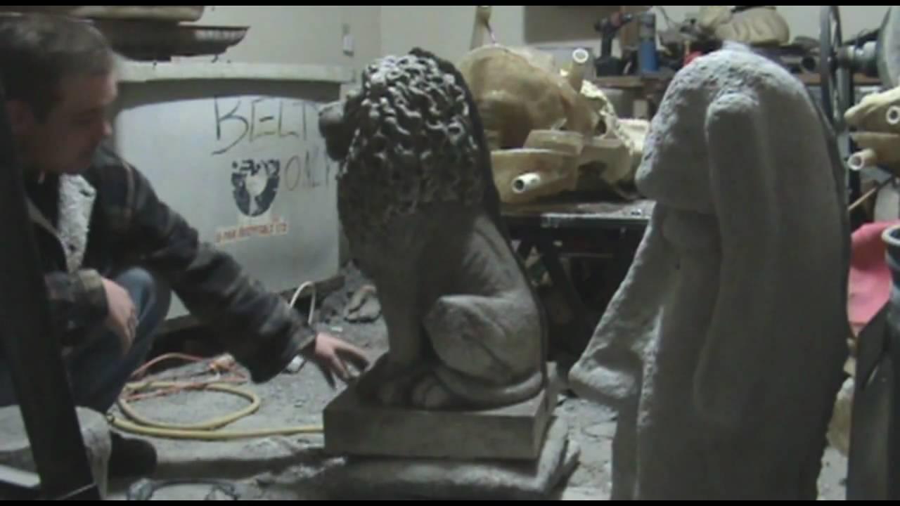 concrete garden statues part 3 , demolding large lion - youtube