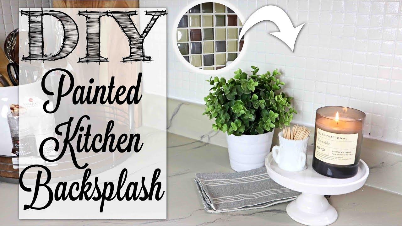 diy painted kitchen backsplash farmhouse style