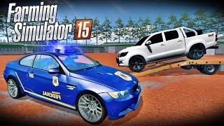 Farming Simulator 2015 - POLICIA Guinchando CARROS Com SOM ALTO