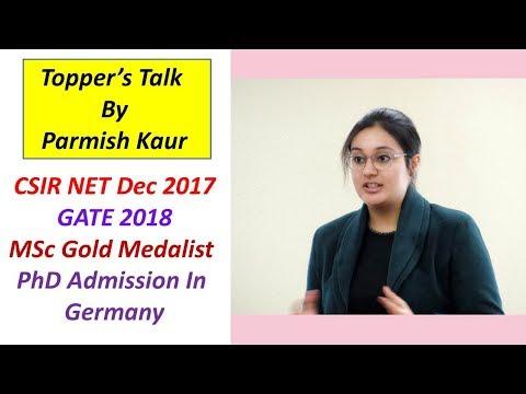 Topper's Talk: Parmish Kaur (CSIR NET Dec 2017 GATE 2018, PhD Admission In  Germany