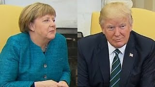 Did Trump snub Merkel handshake?