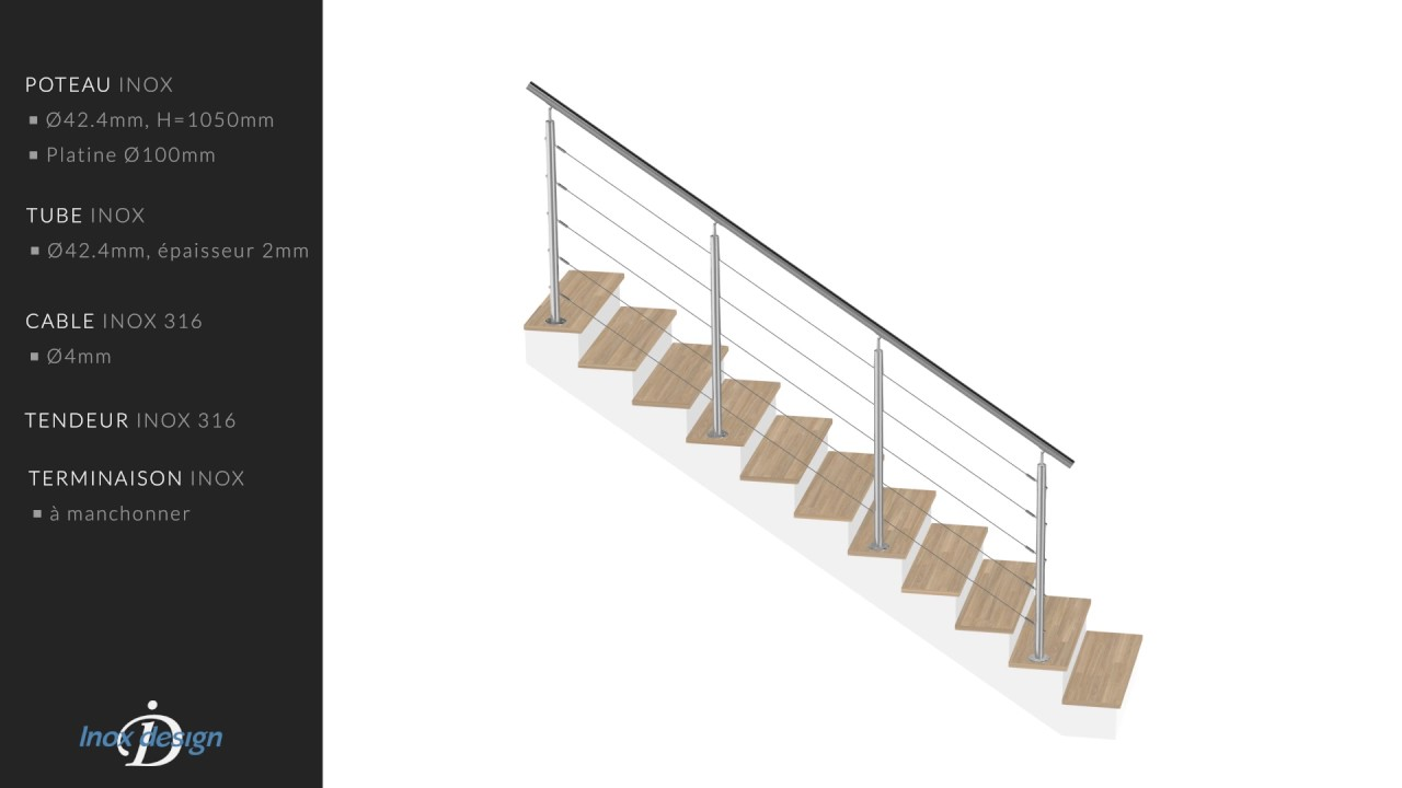 Garde Corps Inox 316 intérieur garde corps escalier inox a cables kit 3m pose au sol - youtube