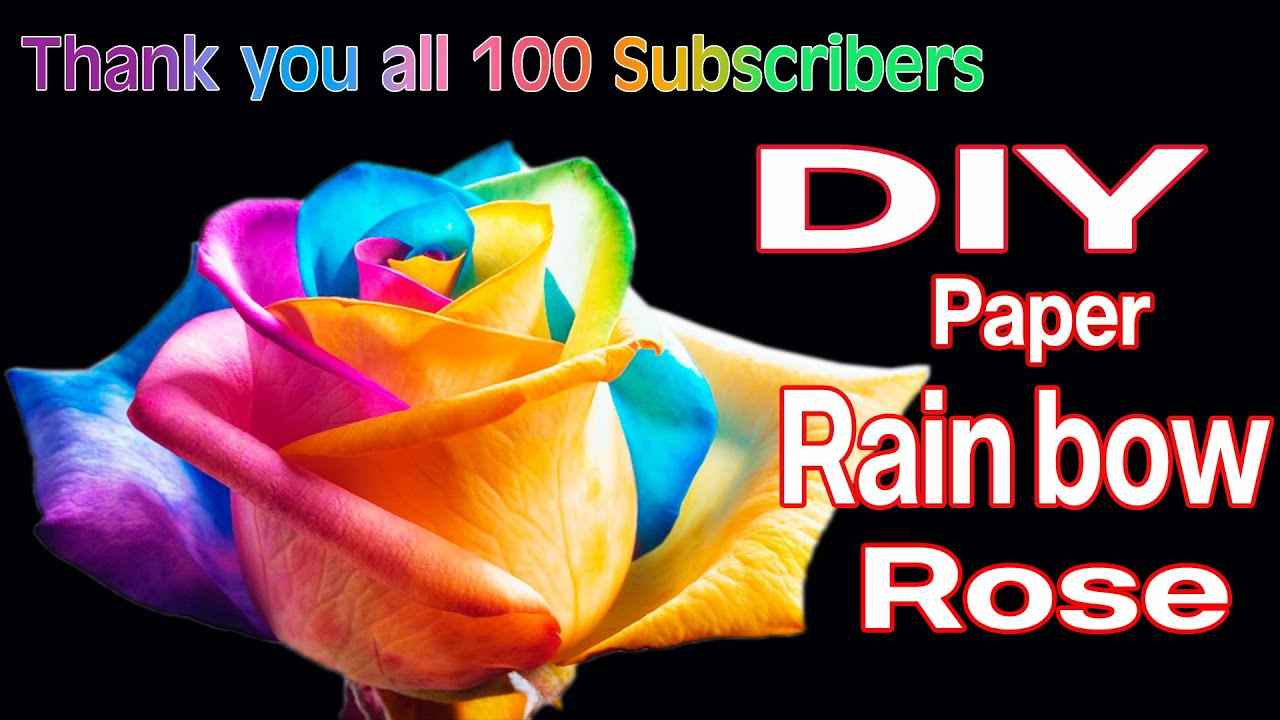 Diy rainbow roses with color papers youtube for How to make a multicolored rose