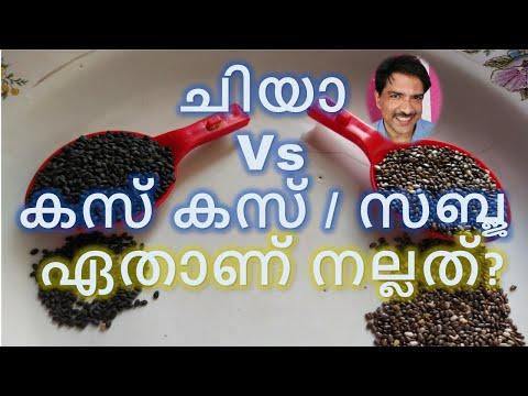 Chia vs sabja in Malayalam   ചിയാ Vs കസ് കസ് / സബ്ജ   Chia vs basil seeds