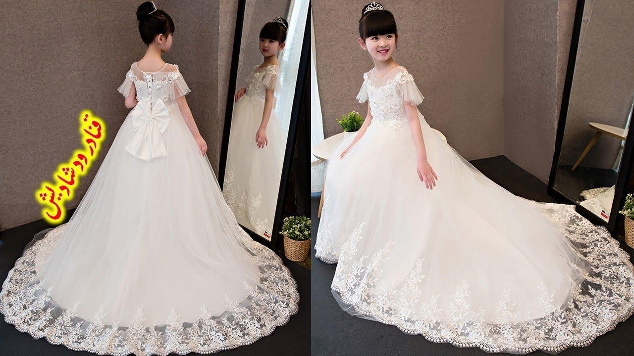 b8108d9c4 اجمل فساتين زفاف للاطفال باللون الابيض تجنن 😍 2018 latest girls gown dress  designs