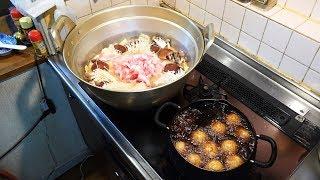 【豚みそ鍋&揚げたこ焼き】メッチャいっぱい料理作るぞ!【Pork Miso Pot & fried Takoyaki】I will cook a lot of dishes!