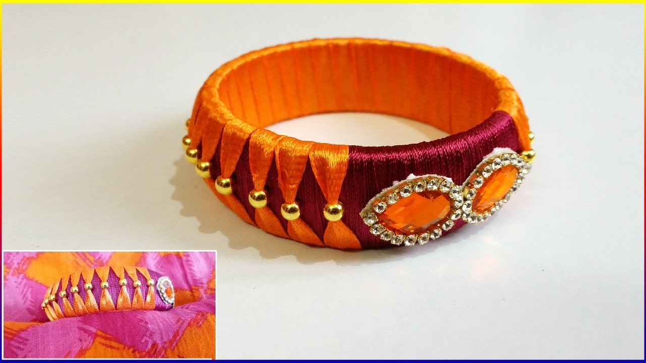 How To Make Silk Thread Bangles At Home Easy Making Bangle With Silk Thrad And Ribbons Omni