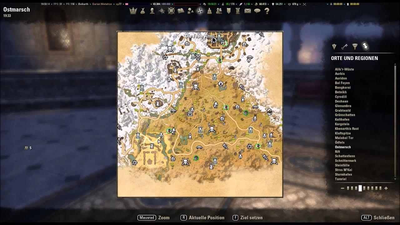 The Elder Scrolls Online Kartenübersicht Ebenherzpakt Maps Positionen -  Hilfe für PS4 und XBOX One