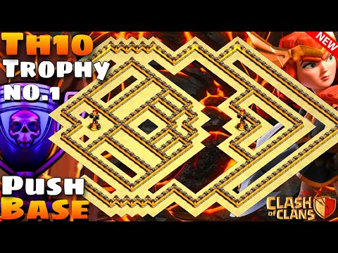 Clash Of Clans | World Best Th10 Trophy Pushing Base | Trophy Saving Base | Copy Link | With Replays