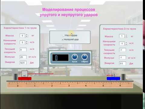 Виртуальные лабораторные работы по физике. Моделирование процессов упругого и неупругого ударов