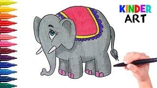 Как легко нарисовать слона поэтапно. Видео для детей | How to draw an elephant for kids
