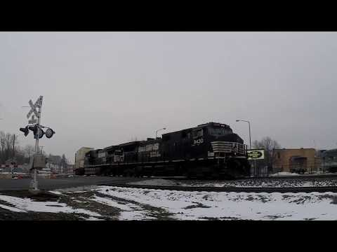 Fast Canadian Pacific Autorack Train after Norfolk Southern Container Train Passes @ Elkhart Indiana