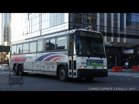 NEW JERSEY BUS ACTION NEAR THE PORT AUTHORITY BUS TERMINAL PABT JAN 2017