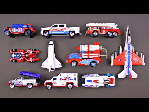 Learning Fourth of July Street Vehicles for Kids - July 4th Cars Trucks Hot Wheels Matchbox Tomica