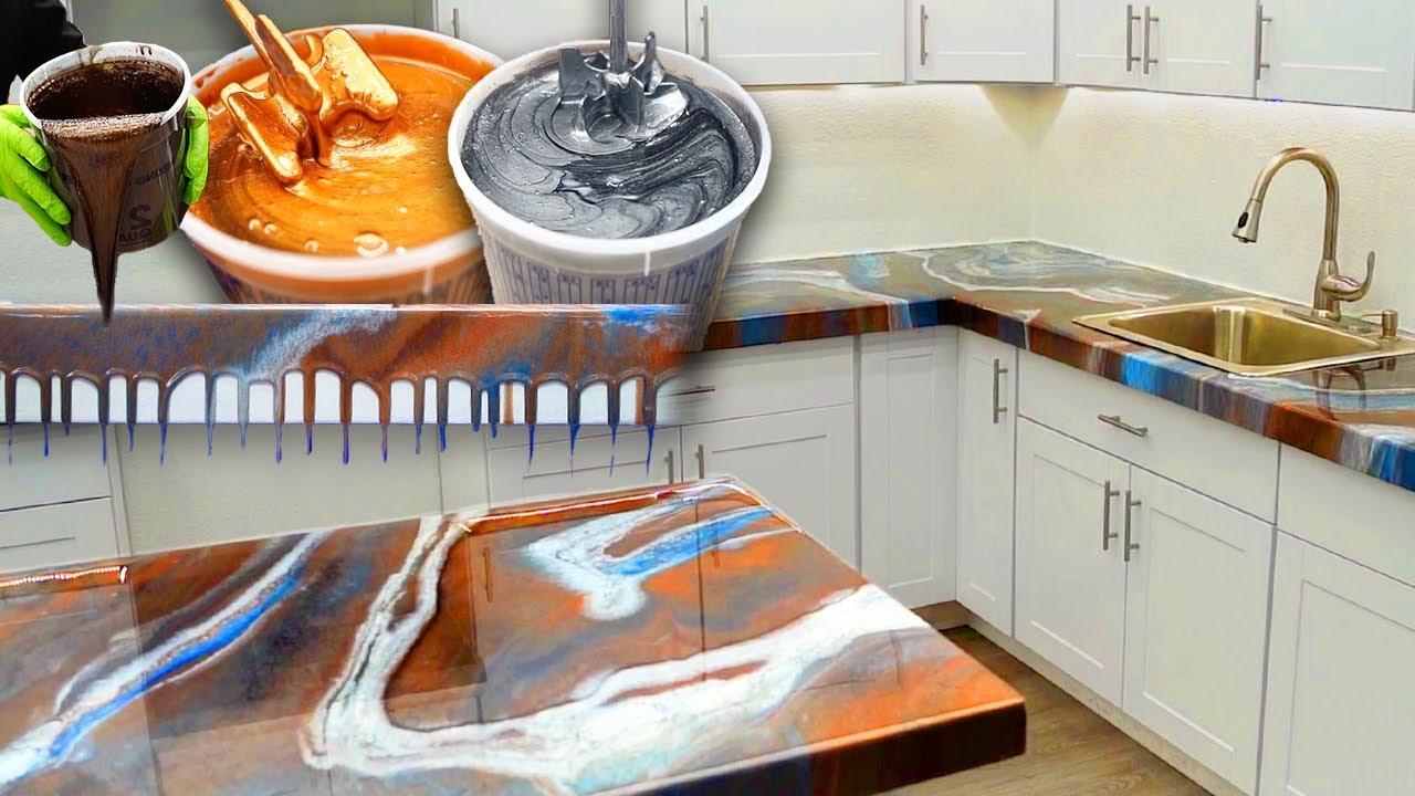 Luxurious DIY Stone Coat Countertops - AMAZING Epoxy Colors & Satisfying Design Time Lapse