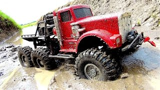 "POWERFUL 6x6 TRUCK in MUDDY SWAMP - OFF ROAD AXLE REPAiR JOB - ""BiG RED"" - RC ADVENTURES"