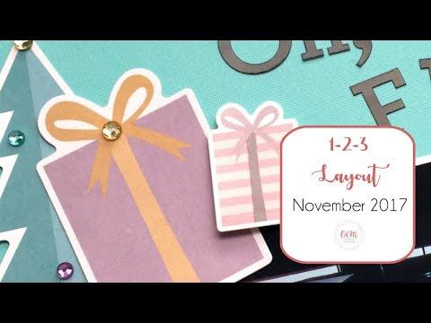 Easy Pastel Christmas Scrapbook Layout - 1-2-3 Layout November 2017