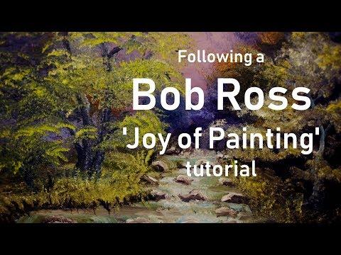 I tried following a Bob Ross' 'joy of painting'  tutorial – purple haze