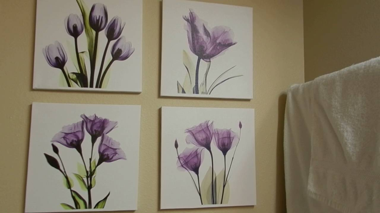 HLJ ART 4 Panel Elegant Tulip Purple Flower Canvas Print Wall Art