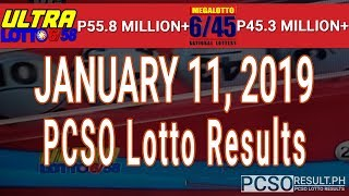 PCSO Lotto Results Today January 11, 2019 (6/58, 6/45, 4D, Swertres, STL & EZ2)