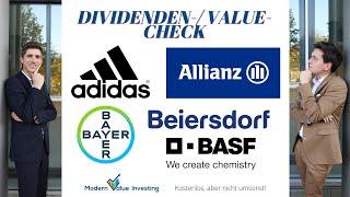 In unserem value-/dividendencheck sprechen wir über die bayer aktie, adidas allianz beiersdorf aktie und basf aktie. bewert...
