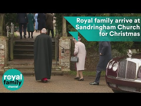 Queen and royal family members arrive at Sandringham Church on Christmas Day