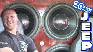 20 000 watt jeep sound system w ricco s 4 15 subwoofers custom high output alternator bracket