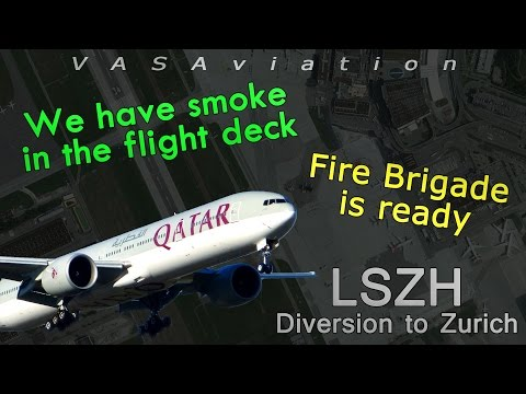 [REAL ATC] Qatar B77W diverts to ZURICH with SMOKE IN COCKPIT!
