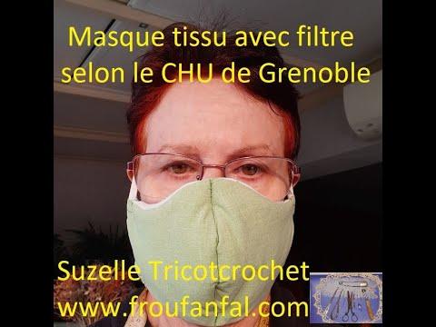 tuto masque avec filtre chu grenoble 4 patrons fournis