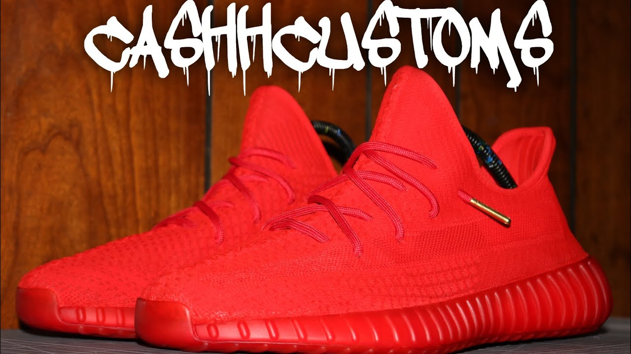 """Custom Yeezy 350 V2 """"RED OCTOBER"""" (Time"""