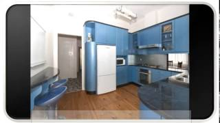 Blue Modern U Shaped Kitchen