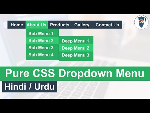 Pure CSS Dropdown Menu Tutorial In Hindi / Urdu
