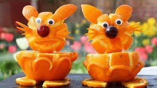 Super Fruits Decoration Ideas - Orange Art fruit plate design